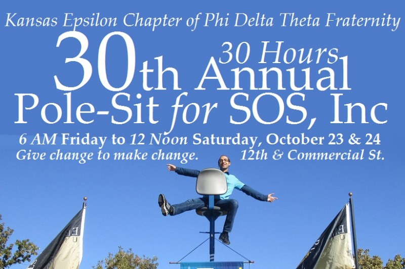 2015 marks the 30th annual Homecoming Pole-Sit raising money to support SOS, Inc., our local agency serving victims of domestic violence, neglect and abuse and advocating for children. This is a signature philanthropy for the brothers of the Emporia State University chapter of Phi Delta Theta Fra...